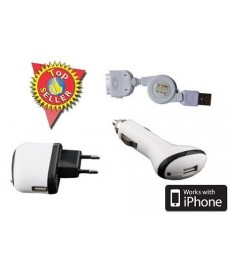 Chargeur 3 en 1 pour iPhone 3G, 3GS et 4